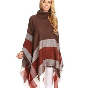 Plaid Poncho -Red and Brown